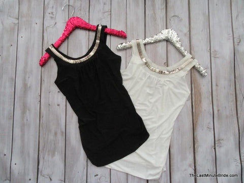 White Embellished Tank (S - Lg available)