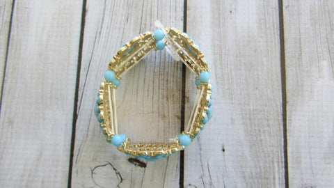 Gold & Blue Stretch Bracelet