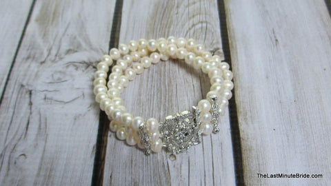 Fresh Water Pearl and CZ Triple Strand Bracelet