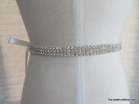 3 Row Rhinestone Beaded Belt Style: Milan
