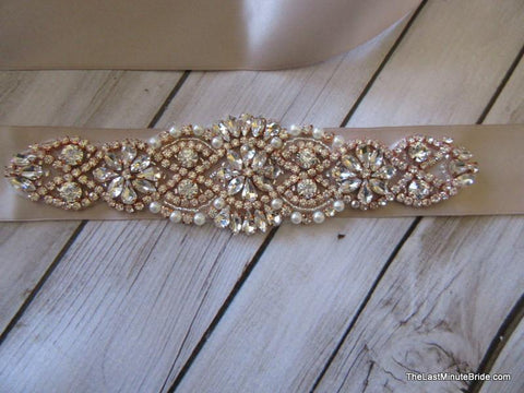 Rose Gold Rhinestone Beaded Belt Style: Napa