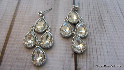 Four Tear Drop Chandelier Earrings