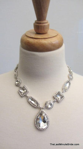 Crystal & Rhinestone Gemstone Necklace & Earrings