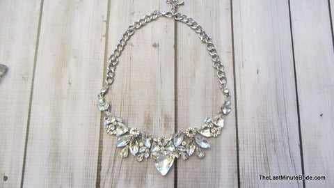Clear Crystal Statement Necklace & Earring Set