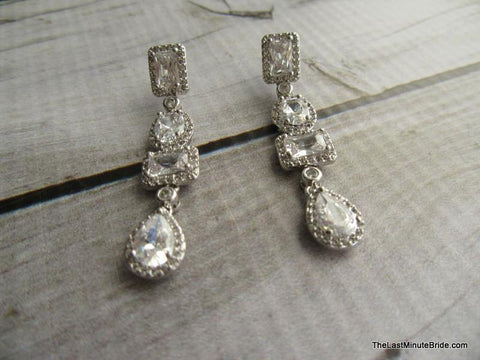 Cubic Zirconia Multi Stone Dangle Earrings