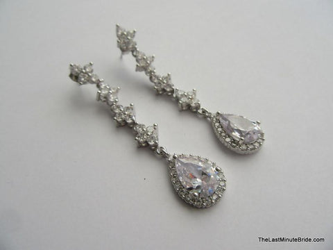 Cubic Zirconia Dangle Bridal Earrings