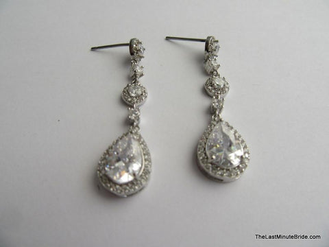 Cubic Zirconia Tear Drop Dangle Earrings