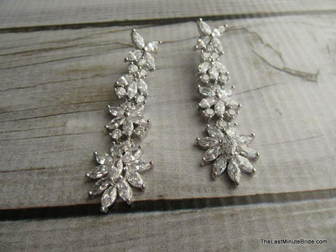 Cubic Zirconia Floral Bridal Dangle Earrings