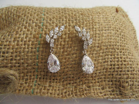 Cubic Zirconia Cluster Bridal Earring