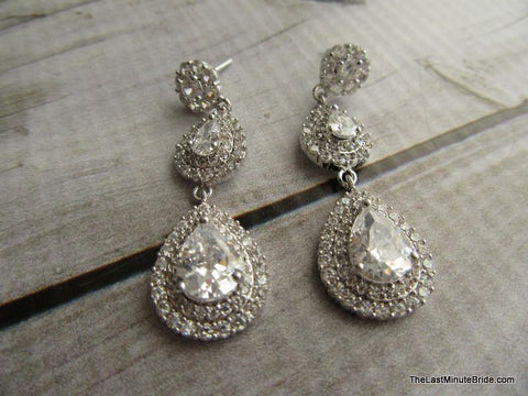Cubic Zirconia Halo Tear Drop Bridal Earrings