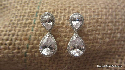 Classic Tear Drop Cubic Zirconia Earrings