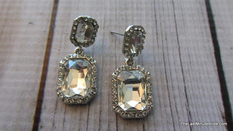 Rectangle Cushion Cut Dangle Earrings (more colors)