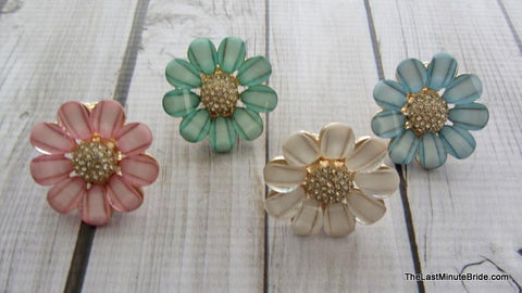 Rhinestone Flower Stretch Ring (more colors)