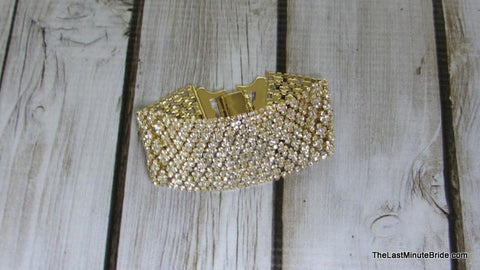 Wide Rhinestone Flexible Bracelet