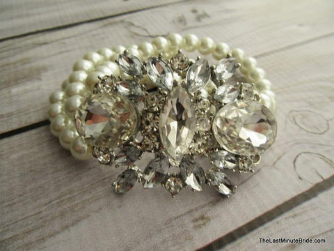 Multi Strand Pearl and Crystal Bridal Bracelet