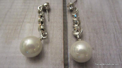 Pearl & Rhinestone Dangle Earrings