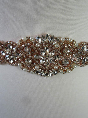 Crystal, Rhinestone & Pearl Bridal Belt Style: Miami, 17 inches, Rose Gold