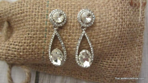 Crystal & Pave Rhinestone Dangle Earrings