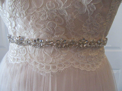Rhinestone Bling Bridal Belt Style: Dallas  Silver