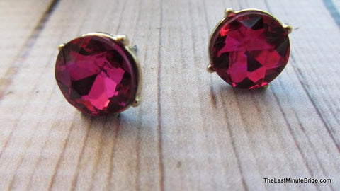 Crystal Round Button Earrings (more colors)