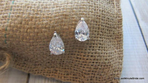 Teardrop Button CZ Earrings (more colors)