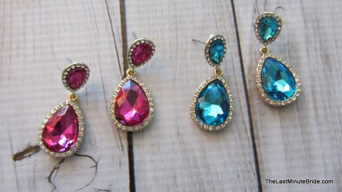 Crystal Tear Drop Dangle Earrings (more colors)