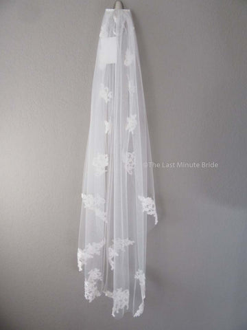 Fingertip Length Veil Style: Lacey