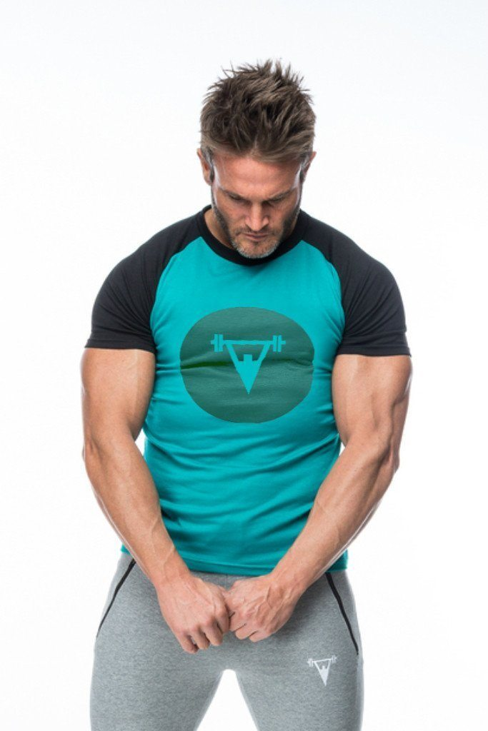 Cut Above 'Kontrast' T-Shirt in Black/Aqua
