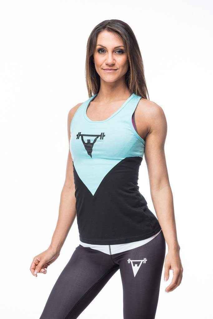 Cut Above Cut Above 'Kontrast' Womens Vest in Black/Teal