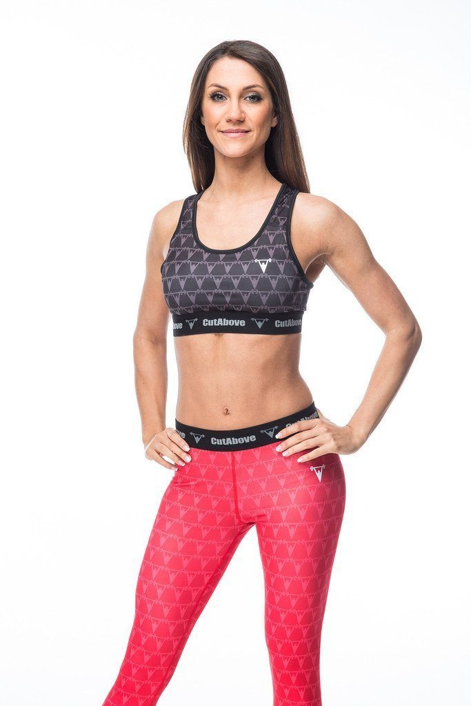Cut Above Monogram Womens Sports Bra in Black