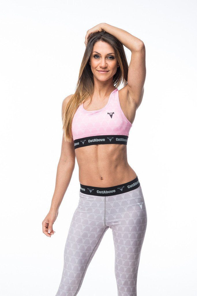 Cut Above Monogram Womens Sports Bra in Pink