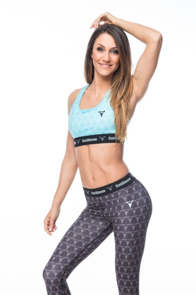 Cut Above Monogram Womens Sports Bra in Teal