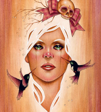 Death Becomes Her - 8x10 Acrylic on wood.