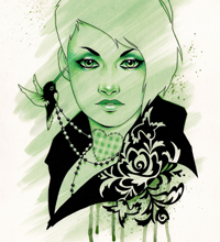 Gorgeously Green - 11x17 Acrylic, ink, and colored pencils on bristol paper.