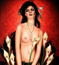 The Banshee In The Lilies - 18x24 Acrylic on wood.