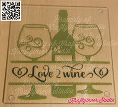 Wine N Glasses Cutting Board