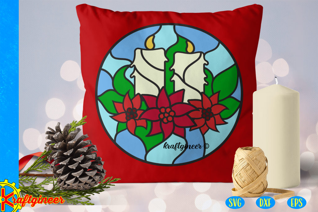 Christmas Svg Faux Stained Glass Candles Svg Cut File