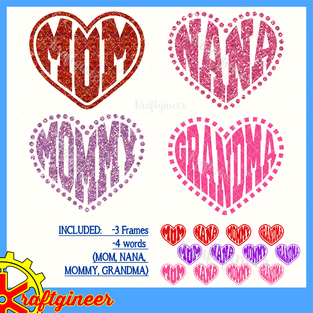 Mother S Day Svg I Heart Mom Svg Dxf Eps Cut File