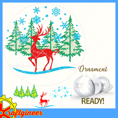 Ornament Deer Scene