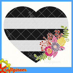 Stripes Flowers Heart