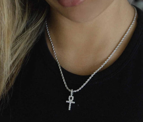 Micro Ankh Cross in White Gold