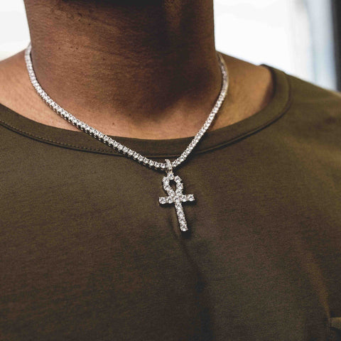 "White Gold Ankh + 3mm Round Cut Tennis Necklace (18"") Set"