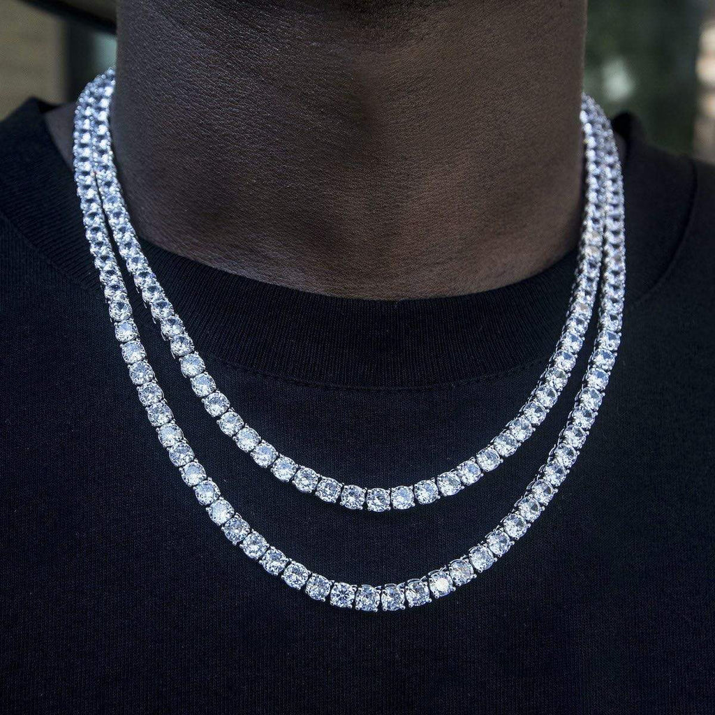5mm Round Cut Tennis Necklace In White Gold The Gld Shop