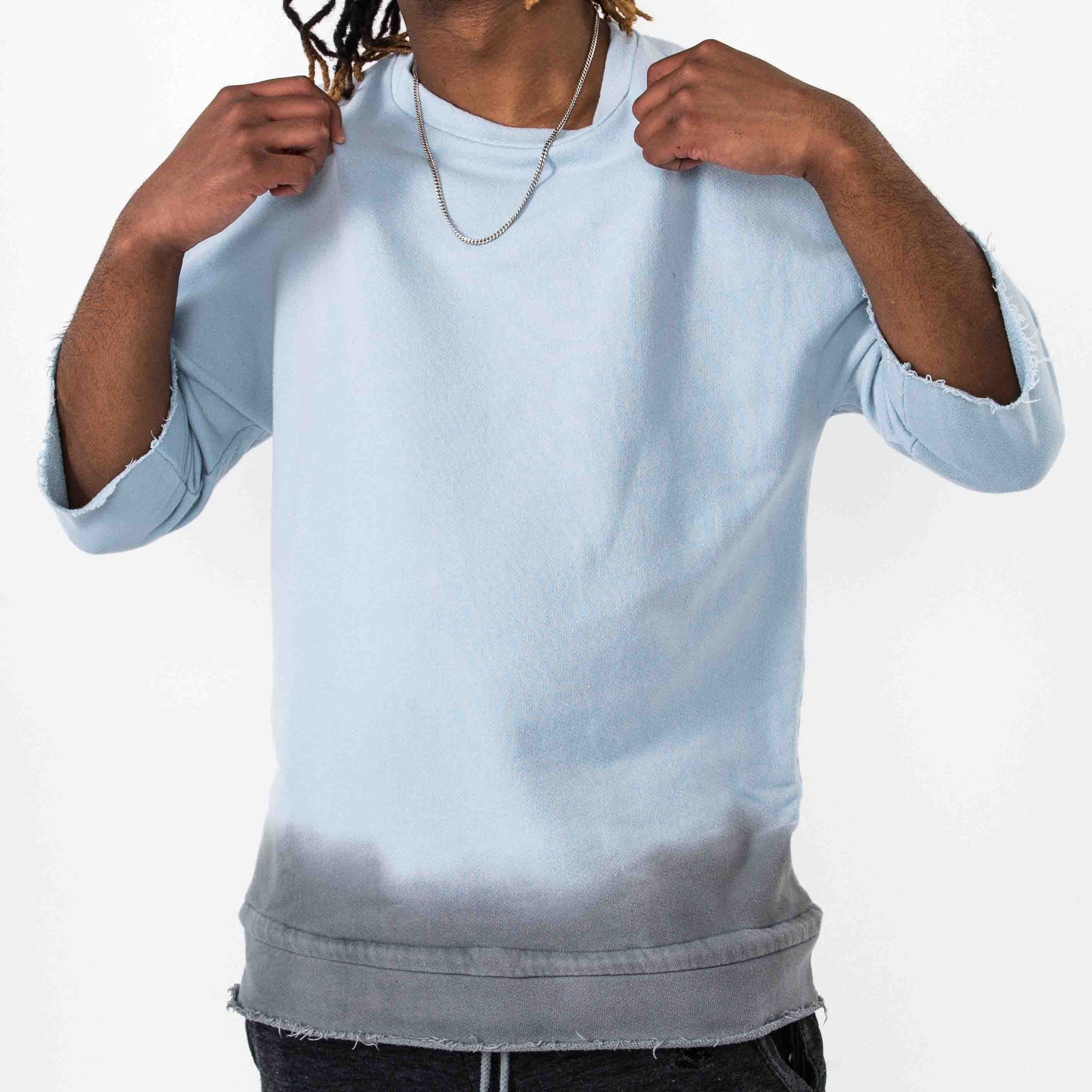 Dip Dyed Crewneck - Blue/Grey - The GLD Shop