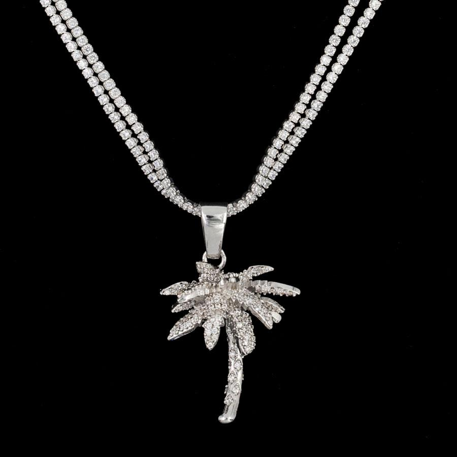 Iced Palm Tree in White Gold