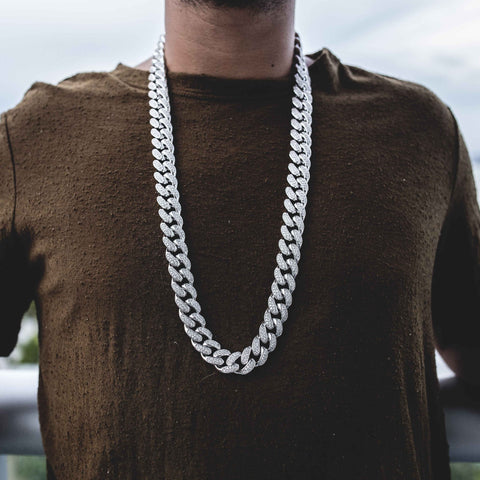Diamond Cuban Link Necklace (19mm) in White Gold