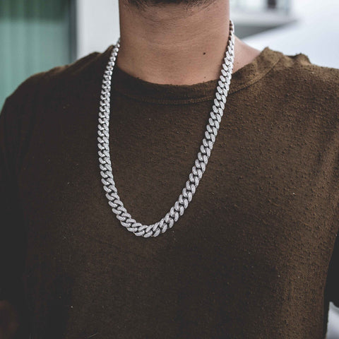Diamond Cuban Link Necklace (10mm) in White Gold