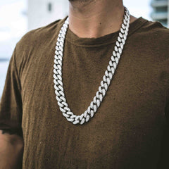 Diamond Cuban Link Necklace (19mm) in White Gold - The GLD Shop