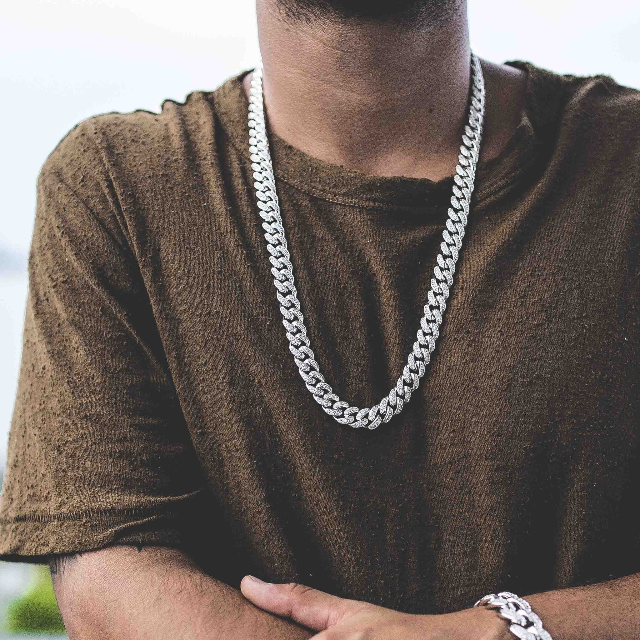 Diamond Cuban Link Necklace (10mm) in White Gold - The GLD Shop