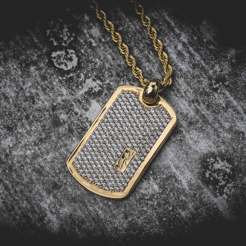 GLD Iced Dog Tag Pendant